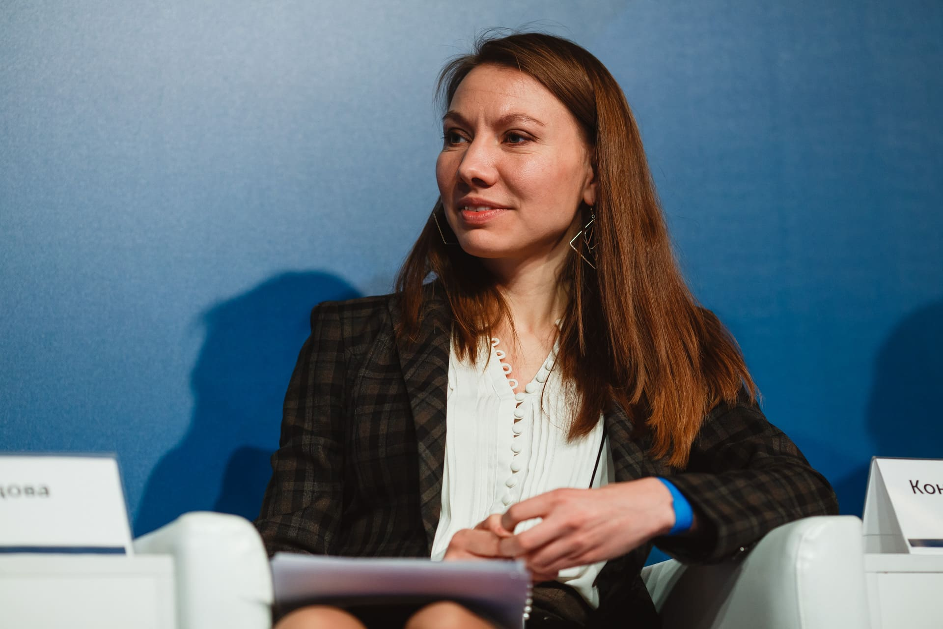 Дарья Сунцова на пресс-конференции, посвящённой премии «Бизнес-Успех»